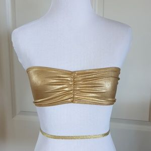 AMERICAN APPAREL gold metallic bandeau bra